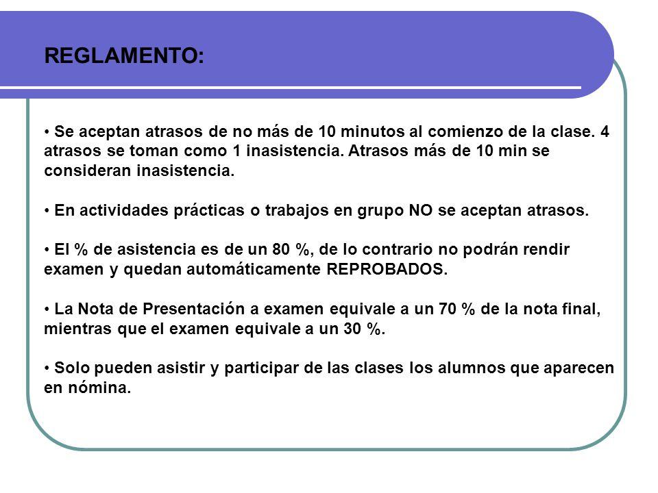 REGLAMENTO: Se aceptan atrasos de no más de 10 minutos al comienzo de la clase. 4 atrasos se toman como 1 inasistencia. Atrasos más de 10 min se consi