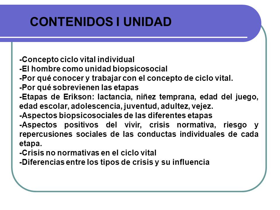 CONTENIDOS I UNIDAD -Concepto ciclo vital individual -El hombre como unidad biopsicosocial -Por qué conocer y trabajar con el concepto de ciclo vital.