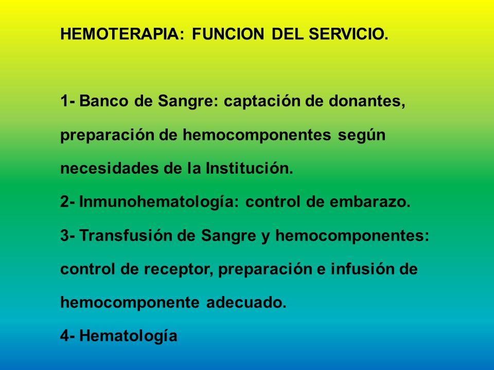 HEMOTERAPIA: FUNCION DEL SERVICIO. 1- Banco de Sangre: captación de donantes, preparación de hemocomponentes según necesidades de la Institución. 2- I