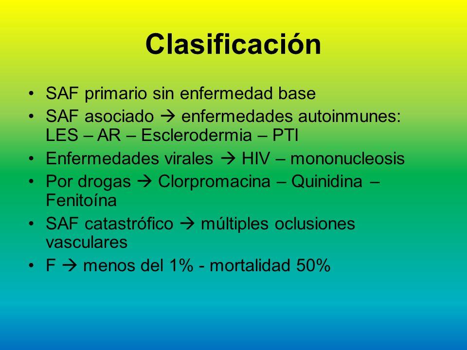 Clasificación SAF primario sin enfermedad base SAF asociado enfermedades autoinmunes: LES – AR – Esclerodermia – PTI Enfermedades virales HIV – mononu