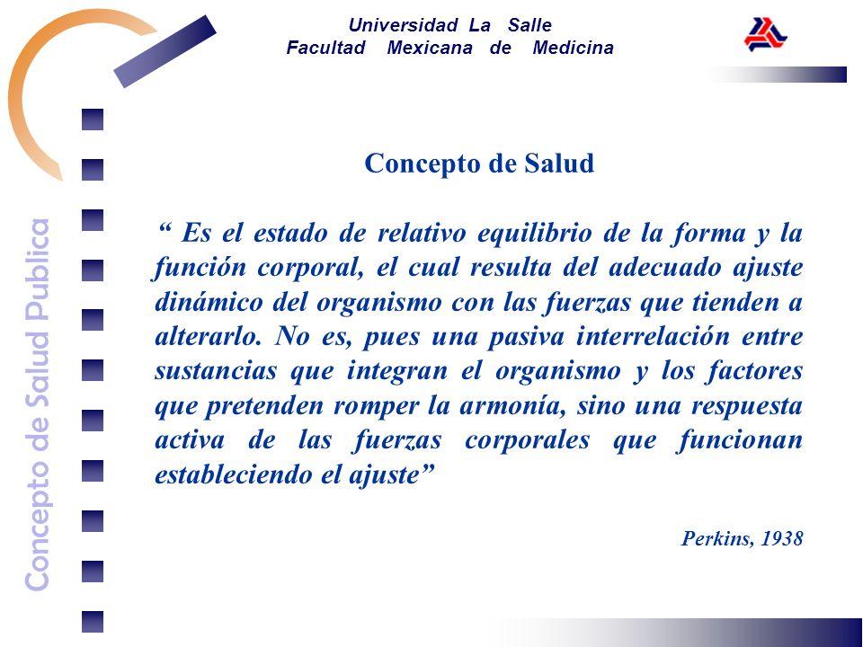 Concepto de Salud Publica Universidad La Salle Facultad Mexicana de Medicina Concepto de Salud Es el estado de relativo equilibrio de la forma y la fu