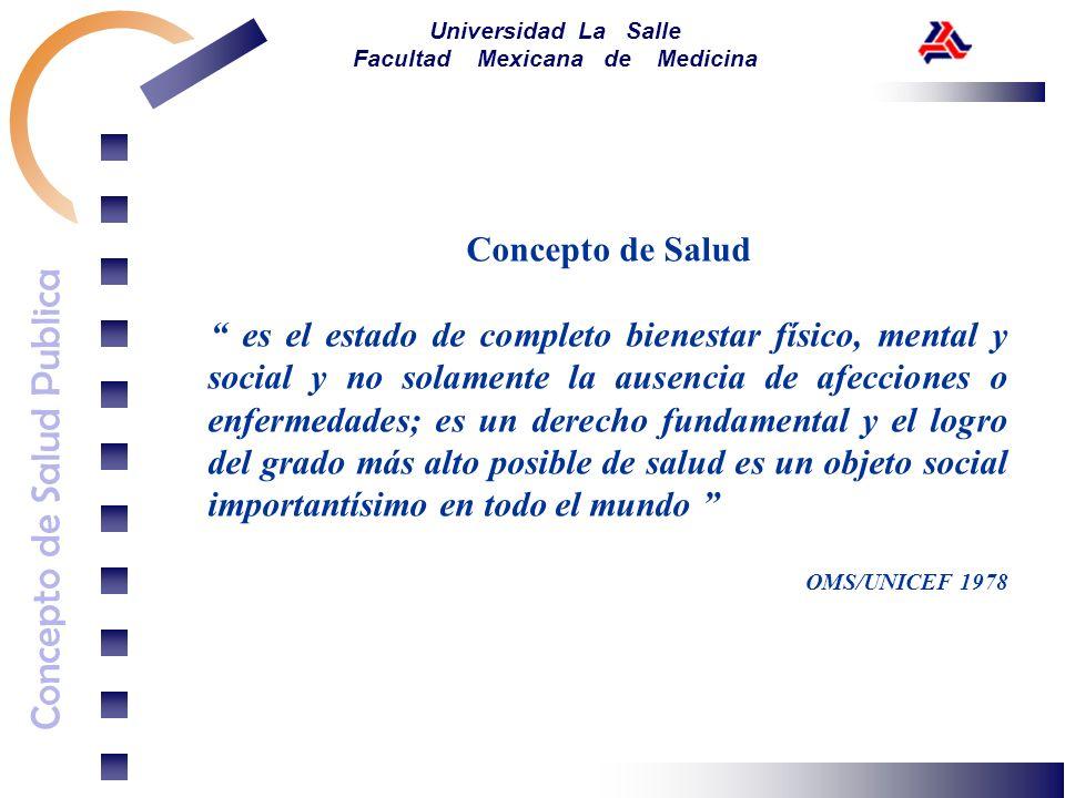 Concepto de Salud Publica Universidad La Salle Facultad Mexicana de Medicina Concepto de Salud es el estado de completo bienestar físico, mental y soc