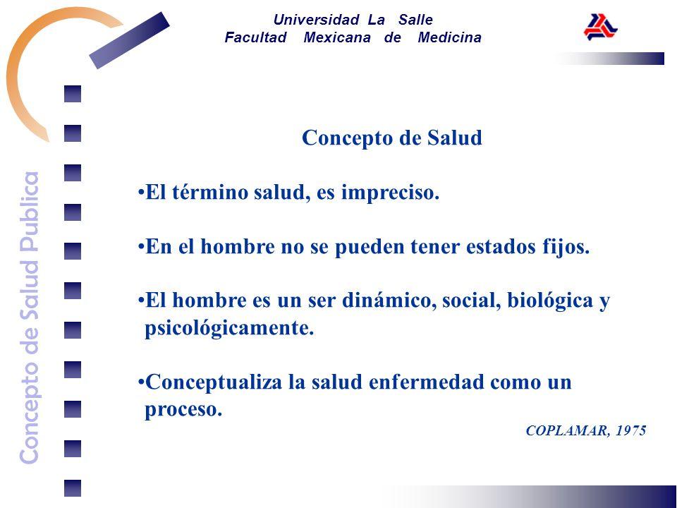 Concepto de Salud Publica Universidad La Salle Facultad Mexicana de Medicina Concepto de Salud El término salud, es impreciso. En el hombre no se pued