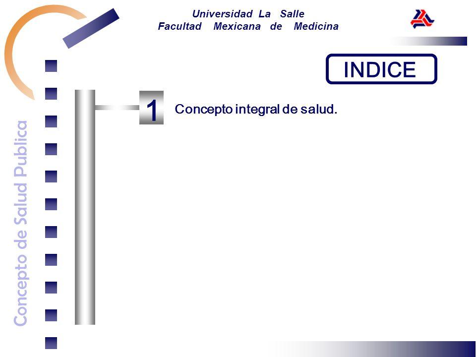 Concepto de Salud Publica Universidad La Salle Facultad Mexicana de Medicina INDICE 1 Concepto integral de salud.