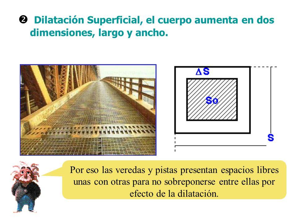 Dilatación Superficial, el cuerpo aumenta en dos dimensiones, largo y ancho. Por eso las veredas y pistas presentan espacios libres unas con otras par
