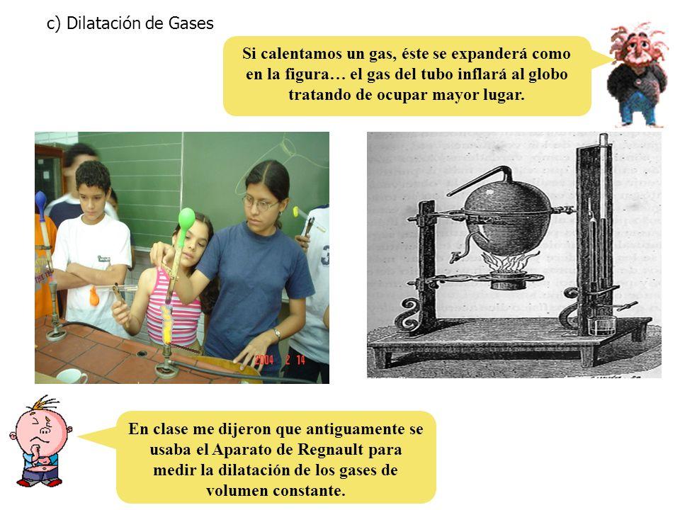 c) Dilatación de Gases Si calentamos un gas, éste se expanderá como en la figura… el gas del tubo inflará al globo tratando de ocupar mayor lugar. En