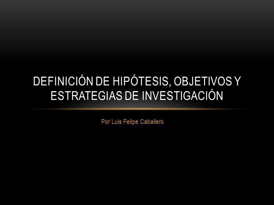 Por Luis Felipe Caballero DEFINICIÓN DE HIPÓTESIS, OBJETIVOS Y ESTRATEGIAS DE INVESTIGACIÓN