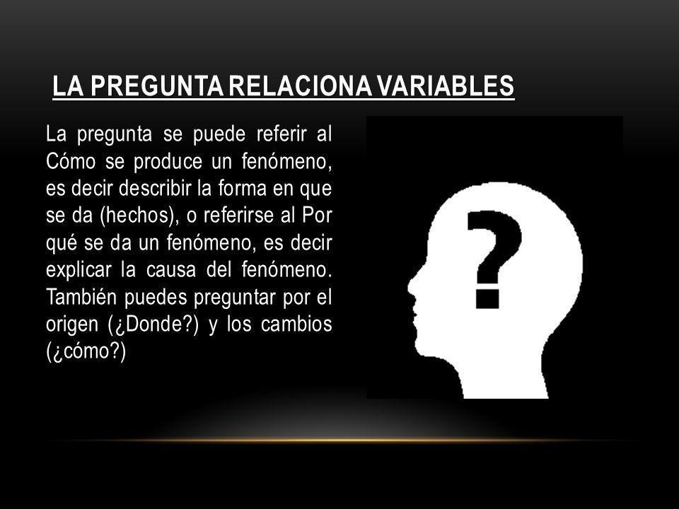 LA PREGUNTA RELACIONA VARIABLES La pregunta se puede referir al Cómo se produce un fenómeno, es decir describir la forma en que se da (hechos), o refe