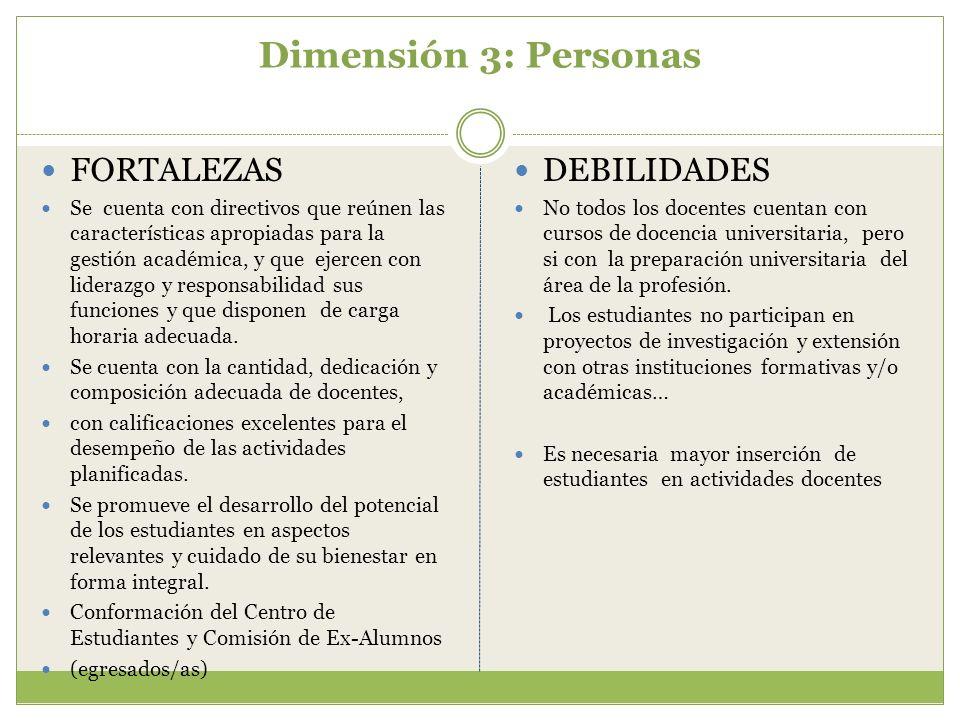 Dimensión 3: Personas FORTALEZAS Se cuenta con directivos que reúnen las características apropiadas para la gestión académica, y que ejercen con lider