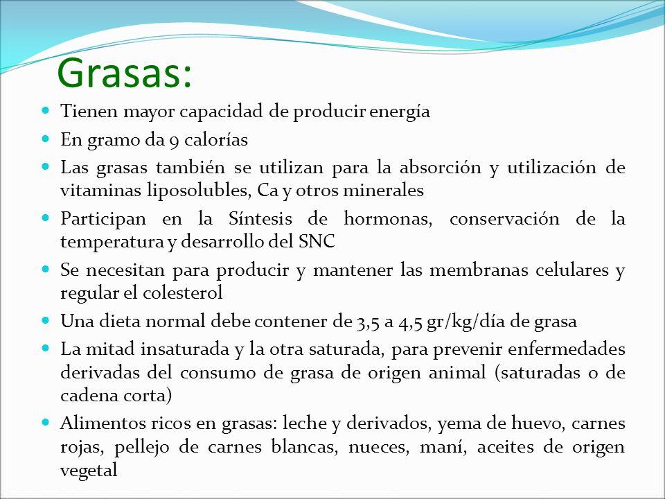 Grasas: Tienen mayor capacidad de producir energía En gramo da 9 calorías Las grasas también se utilizan para la absorción y utilización de vitaminas