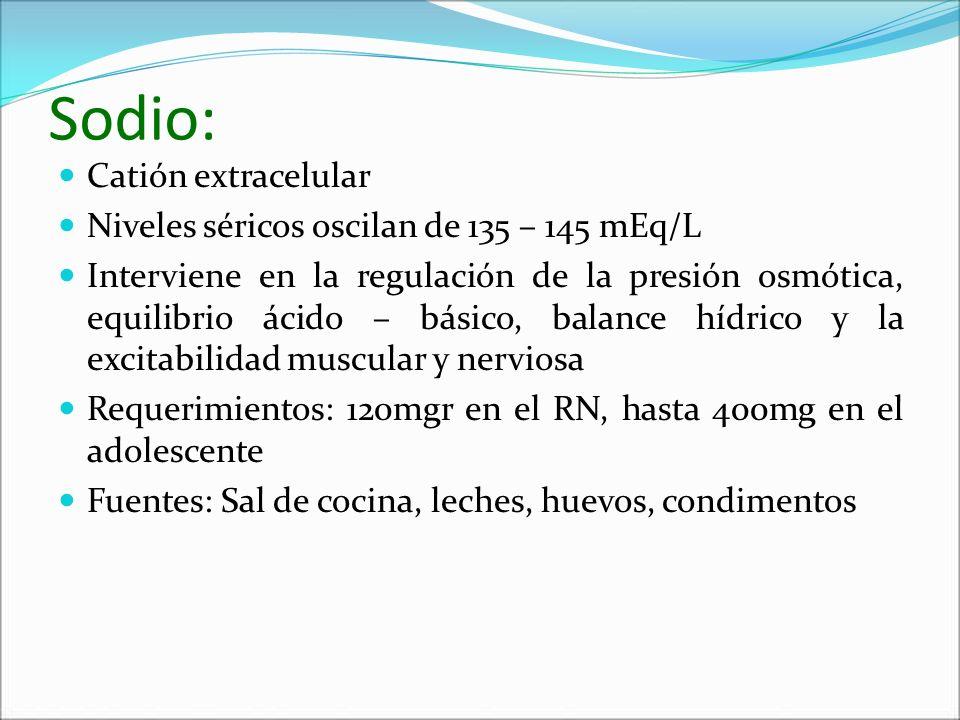 Sodio: Catión extracelular Niveles séricos oscilan de 135 – 145 mEq/L Interviene en la regulación de la presión osmótica, equilibrio ácido – básico, b