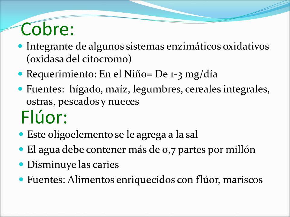 Cobre: Integrante de algunos sistemas enzimáticos oxidativos (oxidasa del citocromo) Requerimiento: En el Niño= De 1-3 mg/día Fuentes: hígado, maíz, l