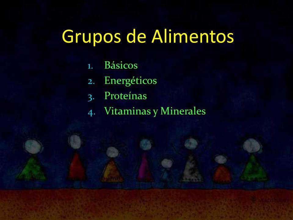 Grupos de Alimentos 1. Básicos 2. Energéticos 3. Proteínas 4. Vitaminas y Minerales