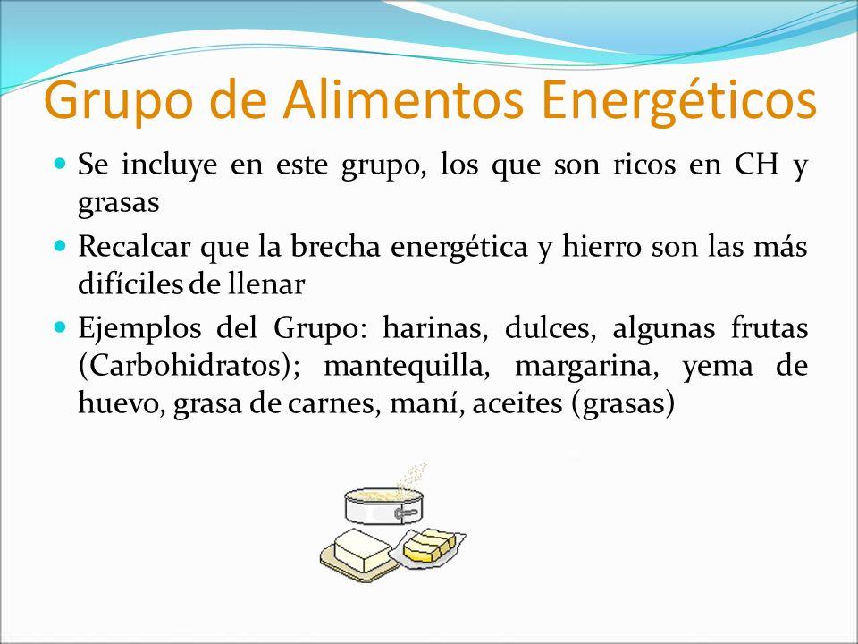 Grupo de Alimentos Energéticos Se incluye en este grupo, los que son ricos en CH y grasas Recalcar que la brecha energética y hierro son las más difíc