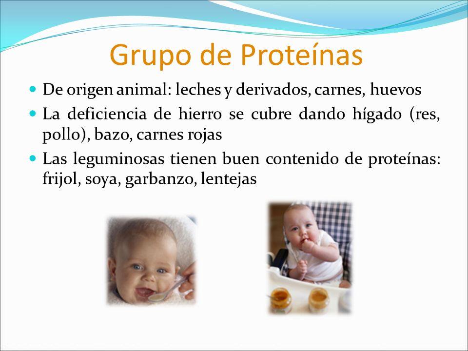 Grupo de Proteínas De origen animal: leches y derivados, carnes, huevos La deficiencia de hierro se cubre dando hígado (res, pollo), bazo, carnes roja