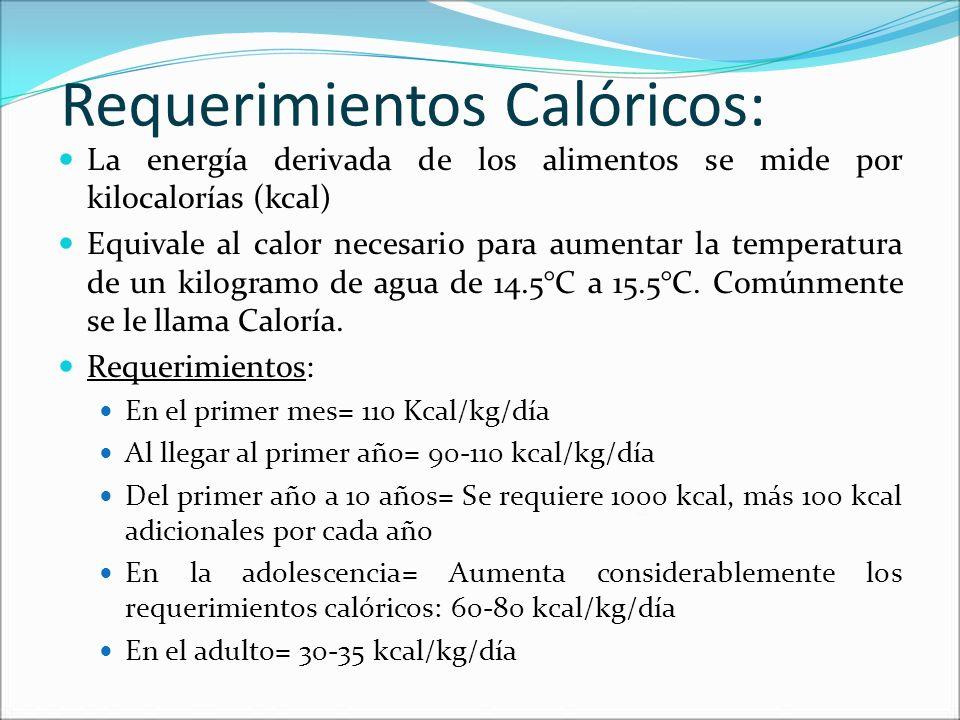 Requerimientos Calóricos: La energía derivada de los alimentos se mide por kilocalorías (kcal) Equivale al calor necesario para aumentar la temperatur