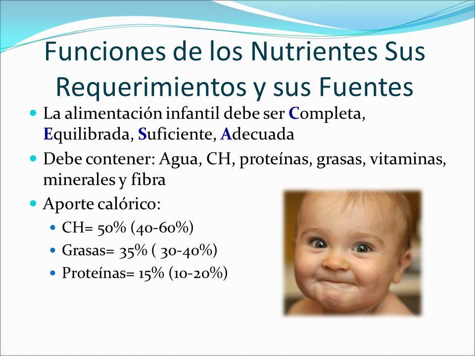 Funciones de los Nutrientes Sus Requerimientos y sus Fuentes La alimentación infantil debe ser Completa, Equilibrada, Suficiente, Adecuada Debe conten