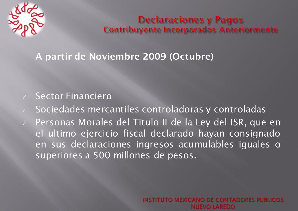 A partir de Noviembre 2009 (Octubre) Sector Financiero Sociedades mercantiles controladoras y controladas Personas Morales del Titulo II de la Ley del
