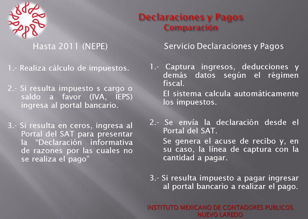 Hasta 2011 (NEPE) 1.- Realiza cálculo de impuestos. 2.- Si resulta impuesto s cargo o saldo a favor (IVA, IEPS) ingresa al portal bancario. 3.- Si res
