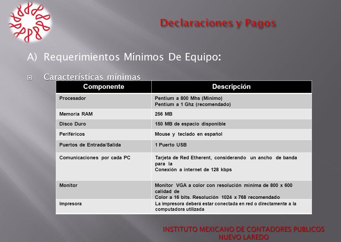 INSTITUTO MEXICANO DE CONTADORES PUBLICOS NUEVO LAREDO A) Requerimientos Mínimos De Equipo : Características mínimas Características mínimas Component