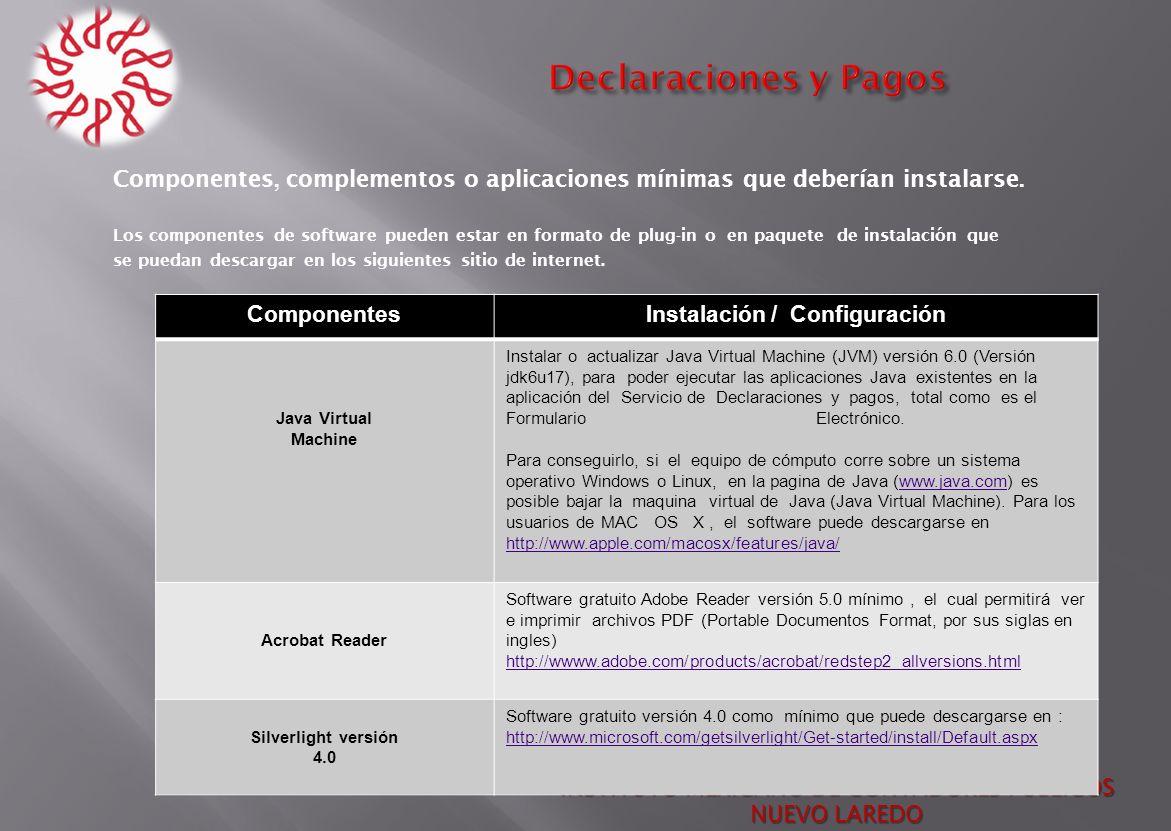 INSTITUTO MEXICANO DE CONTADORES PUBLICOS NUEVO LAREDO Componentes, complementos o aplicaciones mínimas que deberían instalarse. Los componentes de so