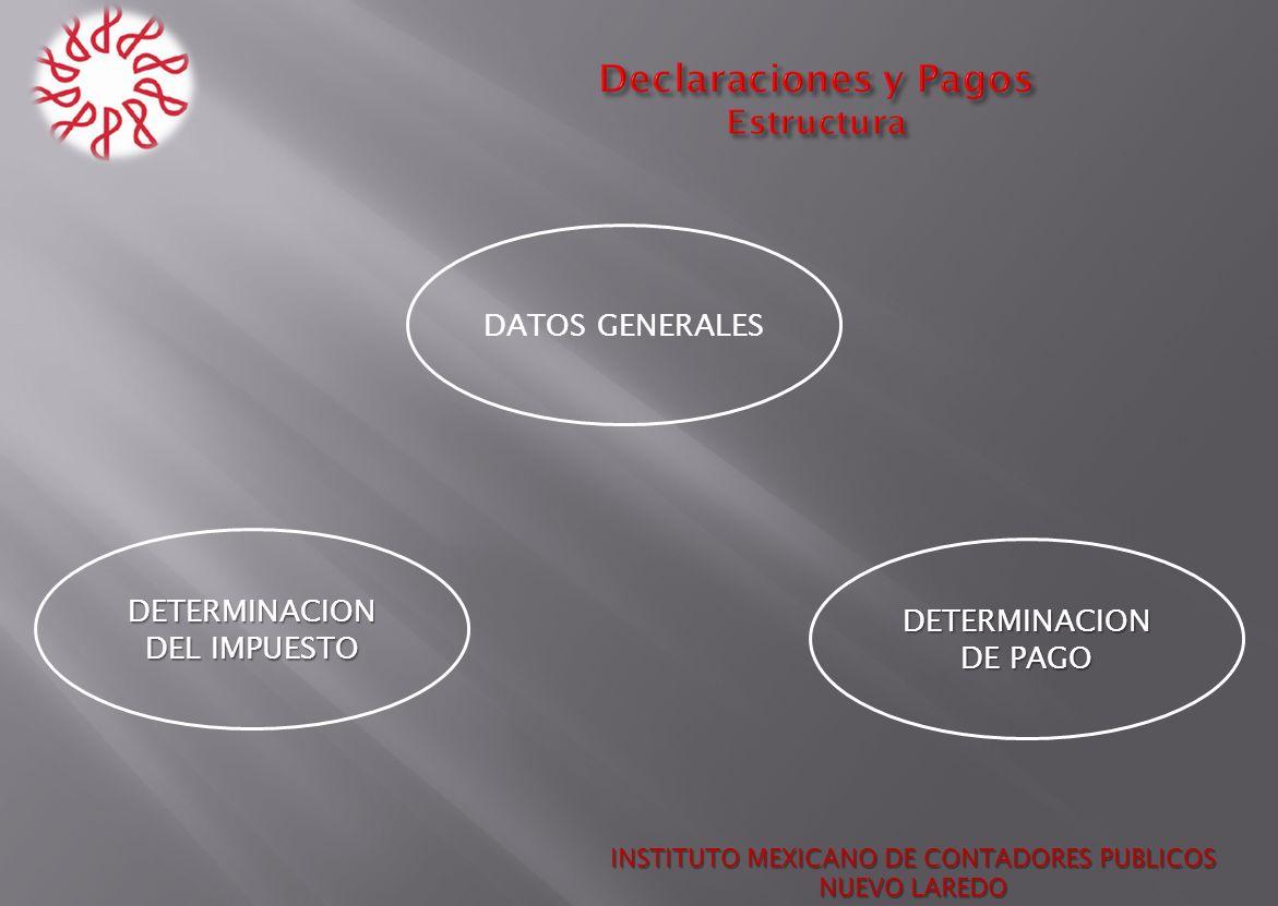 INSTITUTO MEXICANO DE CONTADORES PUBLICOS NUEVO LAREDO DATOS GENERALES DETERMINACION DEL IMPUESTO DETERMINACION DE PAGO