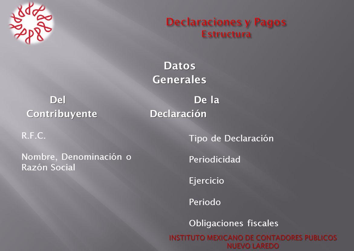DatosGenerales DelDe la Del De la ContribuyenteDeclaración Contribuyente Declaración INSTITUTO MEXICANO DE CONTADORES PUBLICOS NUEVO LAREDO R.F.C. Nom