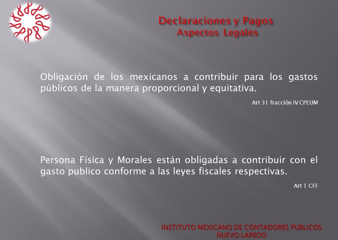 Obligación de los mexicanos a contribuir para los gastos públicos de la manera proporcional y equitativa. Art 31 fracción IV CPEUM Persona Física y Mo