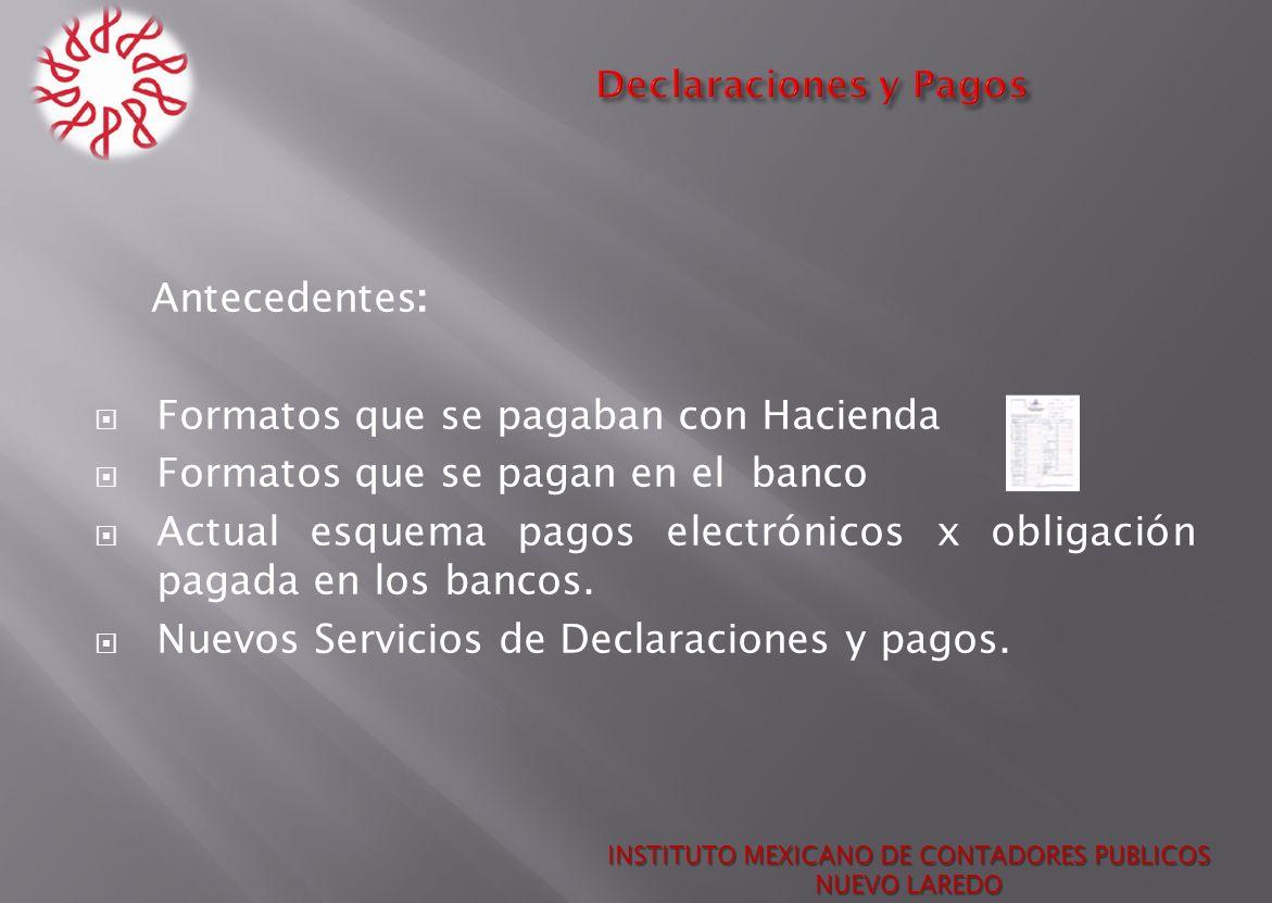 Declaraciones y Pagos INSTITUTO MEXICANO DE CONTADORES PUBLICOS NUEVO LAREDO Antecedentes: Formatos que se pagaban con Hacienda Formatos que se pagan