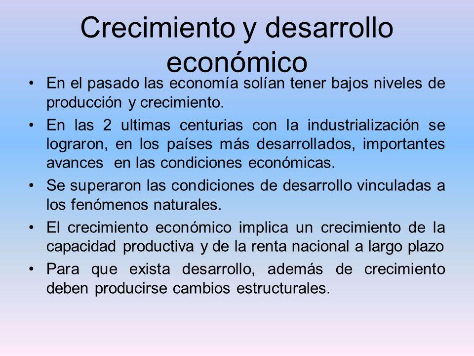Crecimiento y desarrollo económico En el pasado las economía solían tener bajos niveles de producción y crecimiento. En las 2 ultimas centurias con la