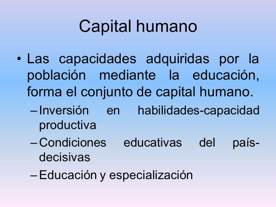 Capital humano Las capacidades adquiridas por la población mediante la educación, forma el conjunto de capital humano. –Inversión en habilidades-capac