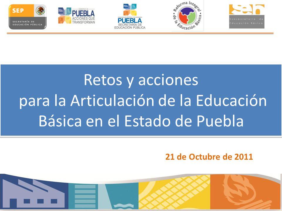 Retos y acciones para la Articulación de la Educación Básica en el Estado de Puebla 21 de Octubre de 2011