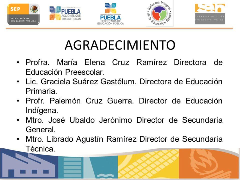 AGRADECIMIENTO Profra. María Elena Cruz Ramírez Directora de Educación Preescolar. Lic. Graciela Suárez Gastélum. Directora de Educación Primaria. Pro