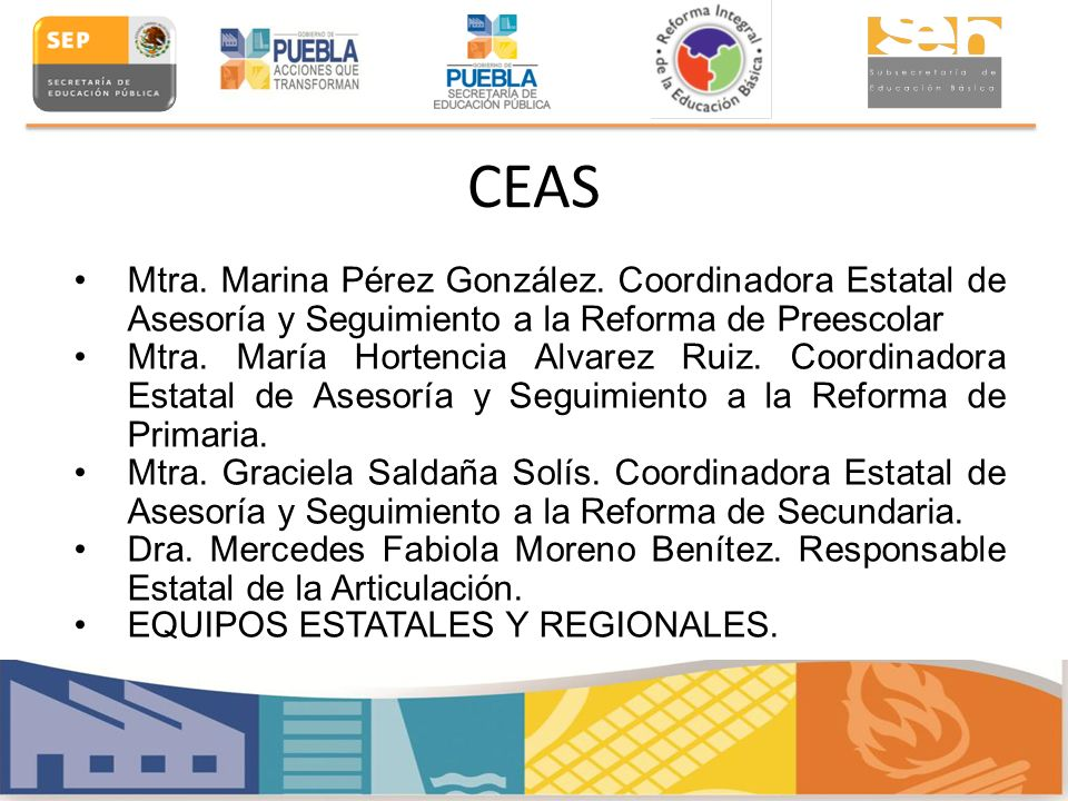 CEAS Mtra. Marina Pérez González. Coordinadora Estatal de Asesoría y Seguimiento a la Reforma de Preescolar Mtra. María Hortencia Alvarez Ruiz. Coordi