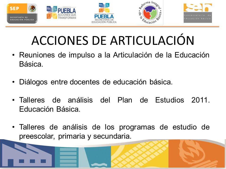 ACCIONES DE ARTICULACIÓN Reuniones de impulso a la Articulación de la Educación Básica. Diálogos entre docentes de educación básica. Talleres de análi