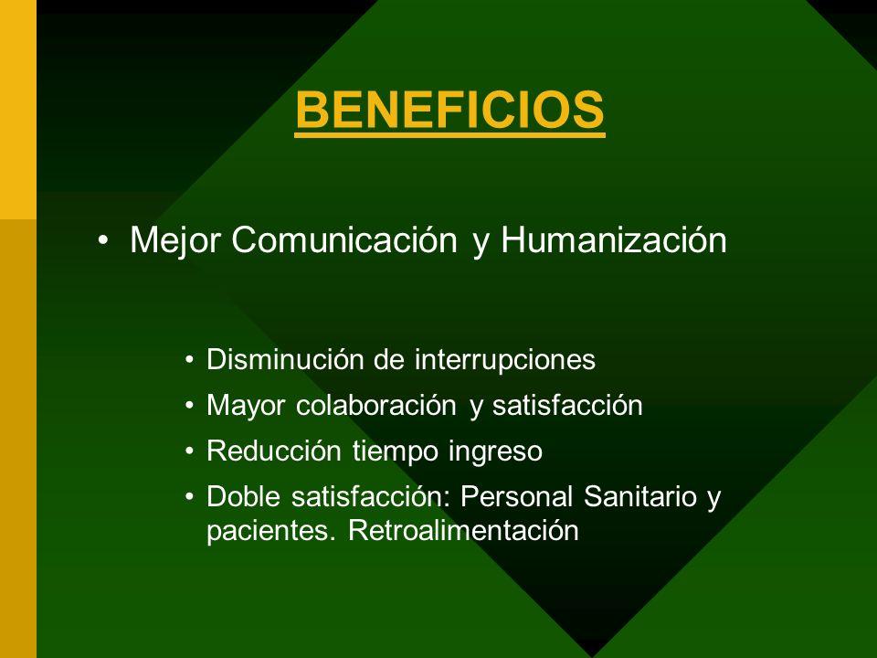 BENEFICIOS Mejor Comunicación y Humanización Disminución de interrupciones Mayor colaboración y satisfacción Reducción tiempo ingreso Doble satisfacci
