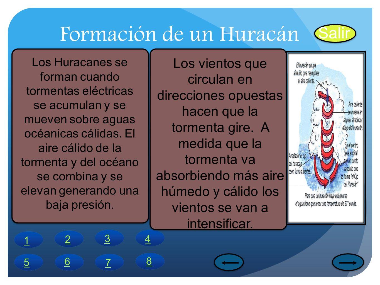 Formación de un Huracán Salir 1 4 6 5 7 8 2 3 Los Huracanes se forman cuando tormentas eléctricas se acumulan y se mueven sobre aguas océanicas cálida