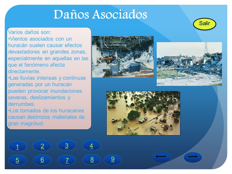 Daños Asociados Varios daños son: Vientos asociados con un huracán suelen causar efectos devastadores en grandes zonas, especialmente en aquellas en l