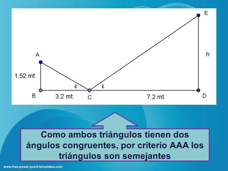 Como ambos triángulos tienen dos ángulos congruentes, por criterio AAA los triángulos son semejantes E A D C B
