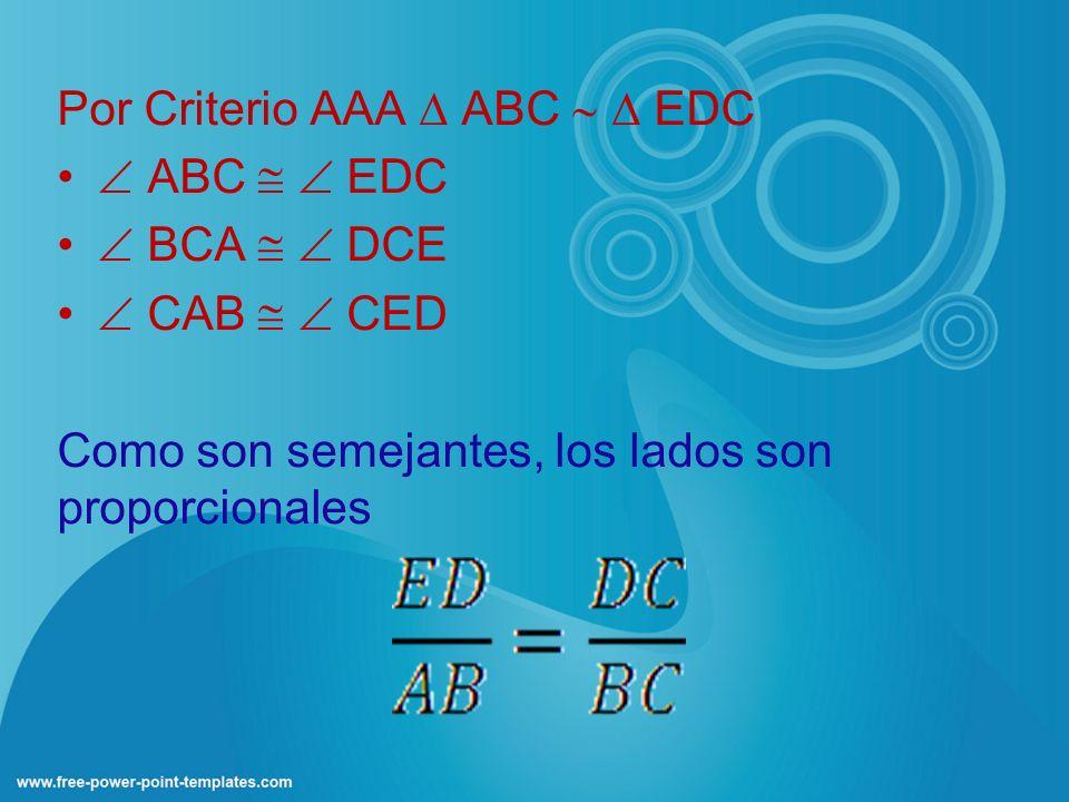 Por Criterio AAA ABC EDC ABC EDC BCA DCE CAB CED Como son semejantes, los lados son proporcionales