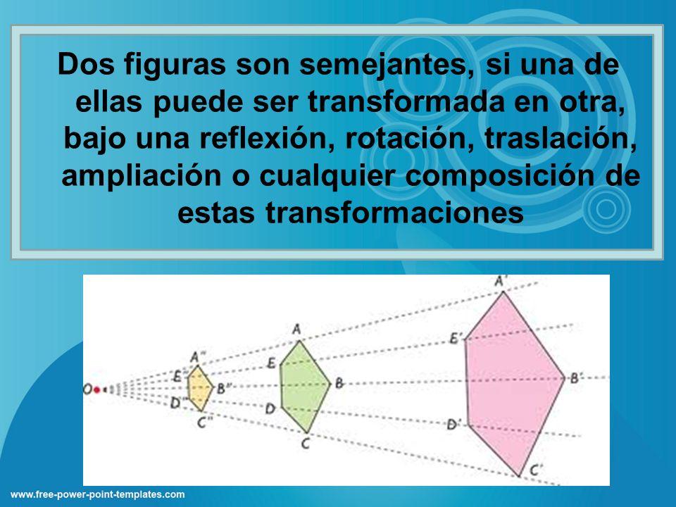 Dos figuras son semejantes, si una de ellas puede ser transformada en otra, bajo una reflexión, rotación, traslación, ampliación o cualquier composici