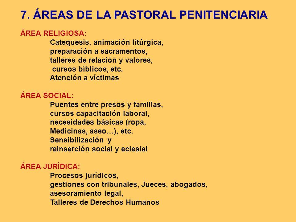 ÁREA RELIGIOSA: Catequesis, animación litúrgica, preparación a sacramentos, talleres de relación y valores, cursos bíblicos, etc. Atención a víctimas
