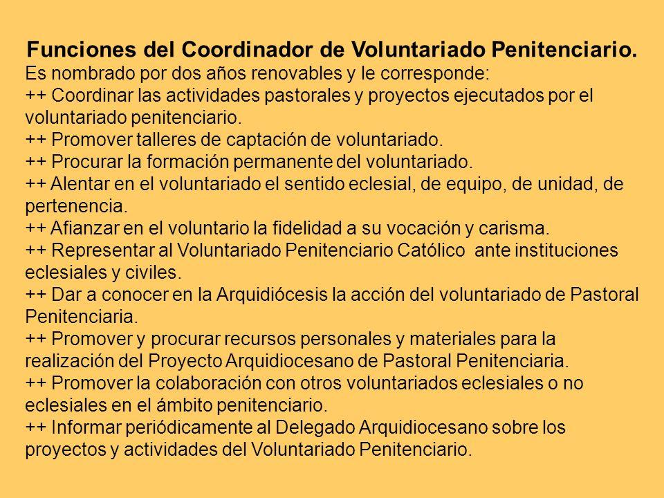 Funciones del Coordinador de Voluntariado Penitenciario. Es nombrado por dos años renovables y le corresponde: ++ Coordinar las actividades pastorales