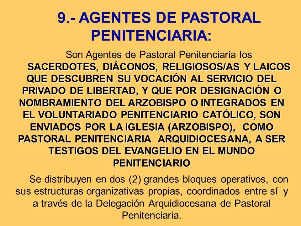 9.- AGENTES DE PASTORAL PENITENCIARIA: Son Agentes de Pastoral Penitenciaria los SACERDOTES, DIÁCONOS, RELIGIOSOS/AS Y LAICOS QUE DESCUBREN SU VOCACIÓ