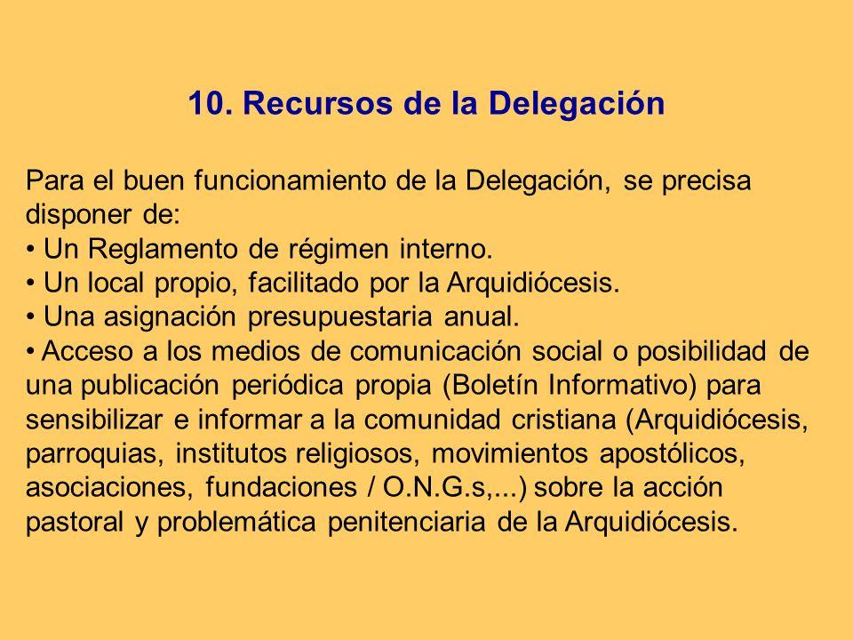10. Recursos de la Delegación Para el buen funcionamiento de la Delegación, se precisa disponer de: Un Reglamento de régimen interno. Un local propio,