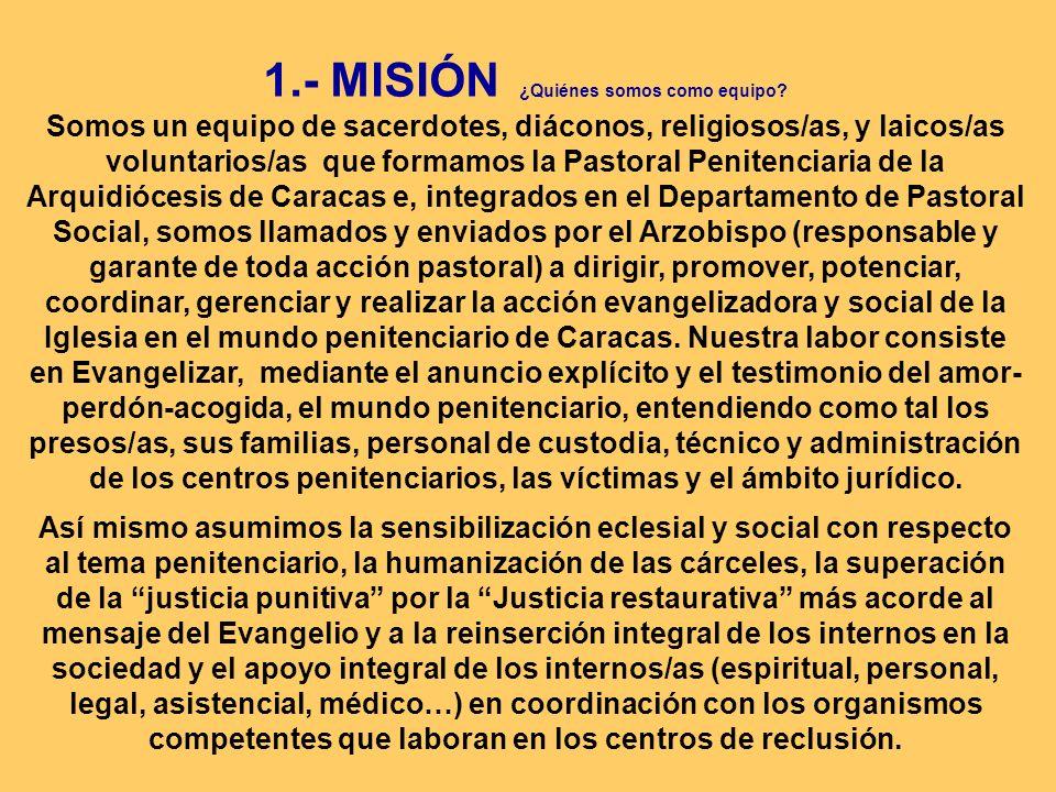 1.- MISIÓN ¿Quiénes somos como equipo? Somos un equipo de sacerdotes, diáconos, religiosos/as, y laicos/as voluntarios/as que formamos la Pastoral Pen