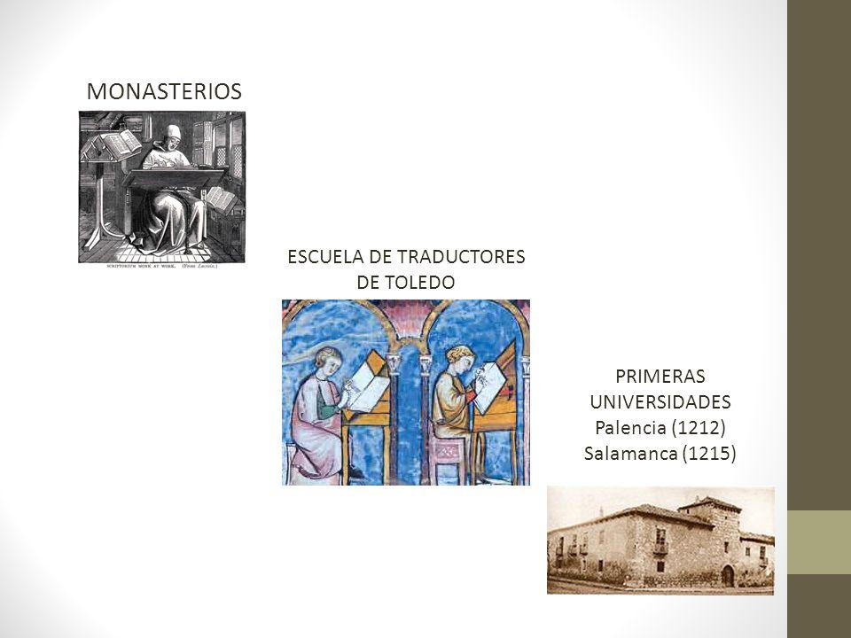 MONASTERIOS ESCUELA DE TRADUCTORES DE TOLEDO PRIMERAS UNIVERSIDADES Palencia (1212) Salamanca (1215)