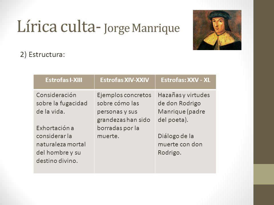 Lírica culta- Jorge Manrique 2) Estructura: Estrofas I-XIIIEstrofas XIV-XXIVEstrofas: XXV - XL Consideración sobre la fugacidad de la vida. Exhortació