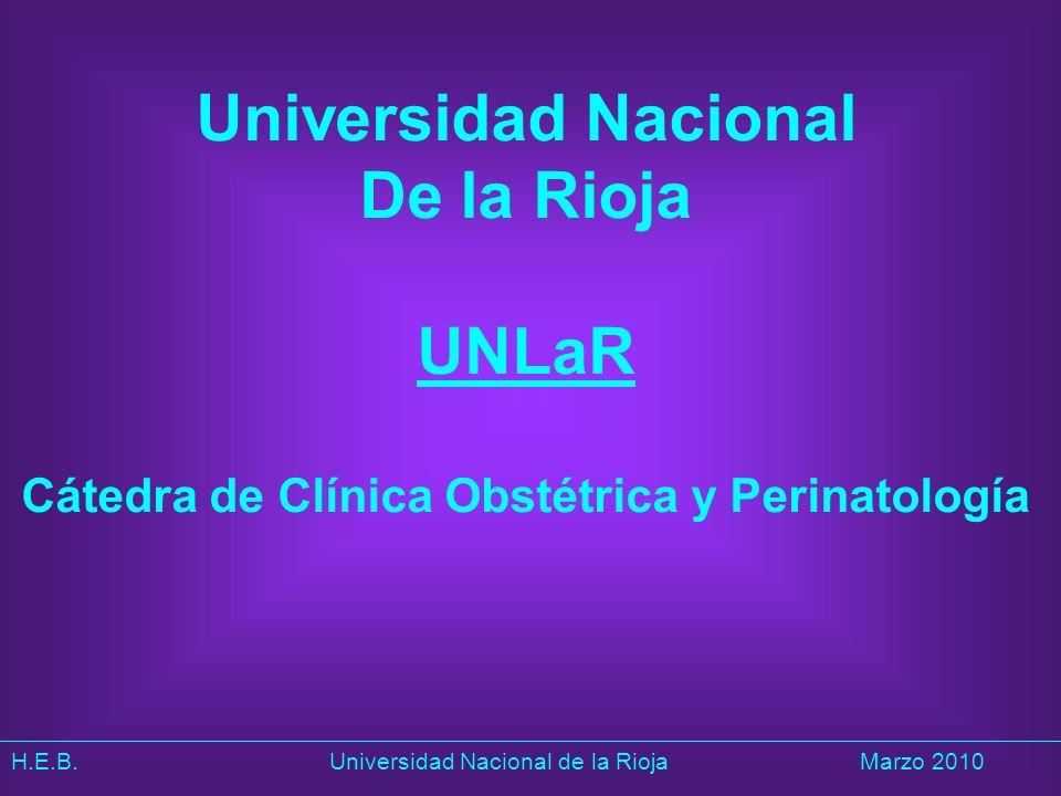 H.E.B. Universidad Nacional de la RiojaMarzo 2010 Universidad Nacional De la Rioja UNLaR Cátedra de Clínica Obstétrica y Perinatología