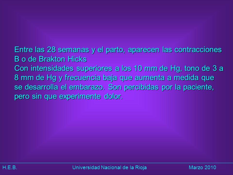 H.E.B. Universidad Nacional de la RiojaMarzo 2010 Entre las 28 semanas y el parto, aparecen las contracciones B o de Brakton Hicks Con intensidades su